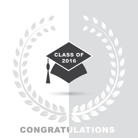 2016 年の単語のクラスとお祝いの言葉卒業の帽子と白い背景のシンプルなグレーの花輪ベクトル アイコン イラスト