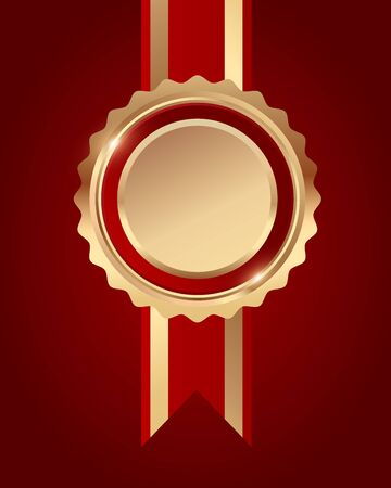 Bronze award red ribbon on red background, vector illustration
