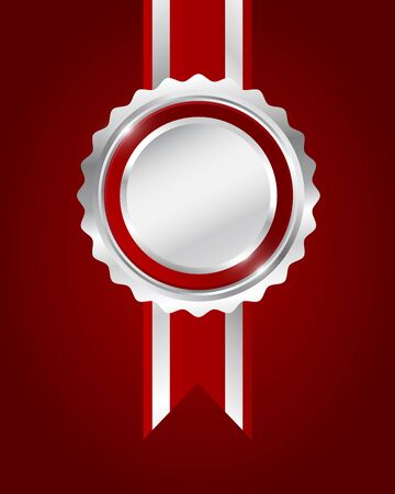 silver ribbon: Silver award red ribbon on red background, vector illustration