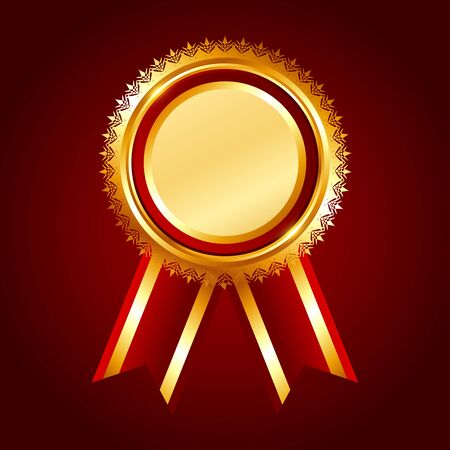 Gold award red ribbon on red background, vector illustration