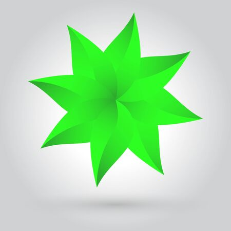 Green leaves star vector icon with shadow on white grey background