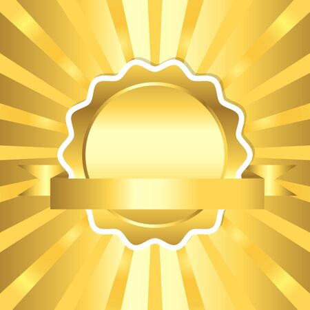 Golden seal with ribbon on sun ray background, vector illustration Çizim