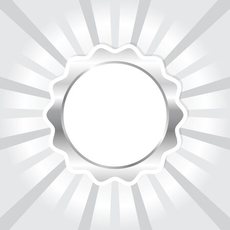 White silver seal on sun ray background, vector illustration