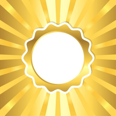 Golden seal on sun ray background, vector illustration