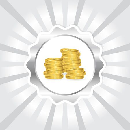 Gold coins icon on white silver background, vector illustration Çizim