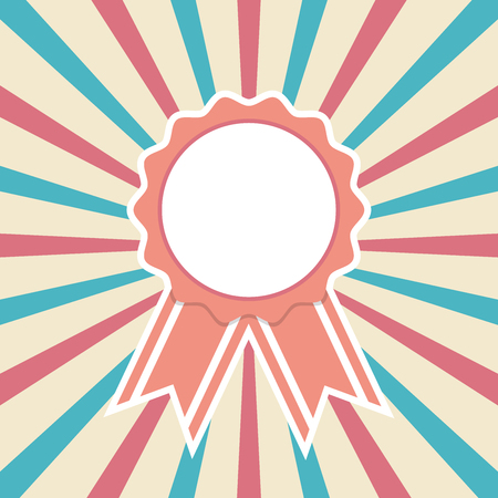 Award ribbon on retro starburst background, vector illustration Çizim