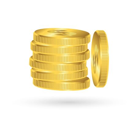 Gold coin symbol, income and saving concept, vector illustration