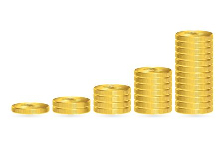 Increasing piles of coins, financial growth concept. Vector illustration.