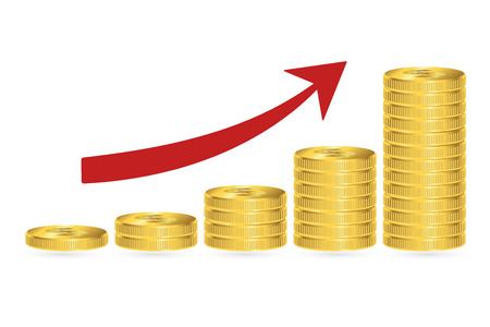 Increasing piles of coins with arrow, financial growth concept. Vector illustration.