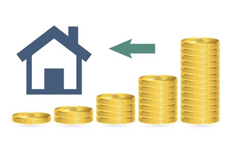 Increasing piles of coins, financial growth, buying home concept. Vector illustration.
