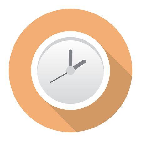 茶色のレトロな色の背景上の長い影の壁掛け時計