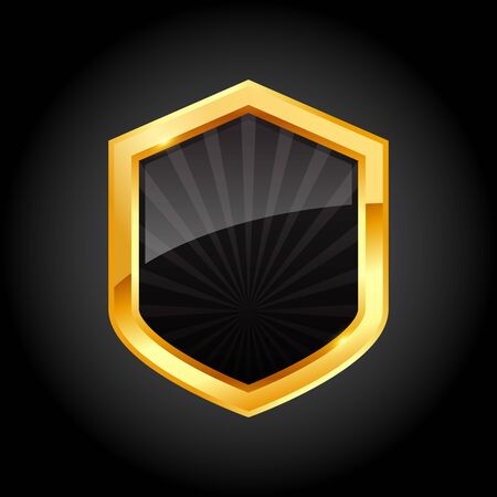 Shiny golden black shield with ribbon on black background, vector illustration Çizim