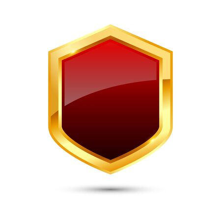 Shiny golden and red shield on white background, vector illustration