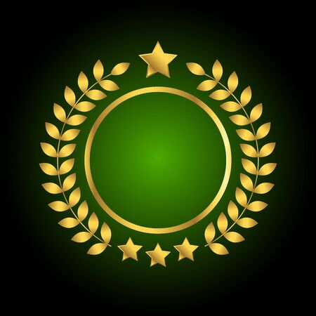 Golden, green badge with wreath and stars on black background, vector illustration