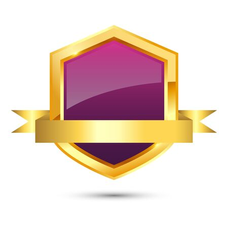 Shiny golden and purple shield with ribbon on white background, vector illustration Çizim