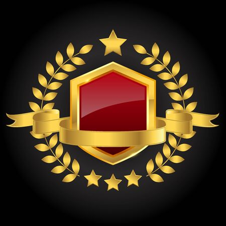 Golden red shield with ribbon and wreath on blank background, vector illustration