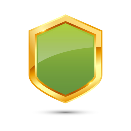 Shiny golden and green shield on white background, vector illustration