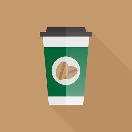 Koffiedocument kop met lange schaduw, vectorillustratie Stock Illustratie
