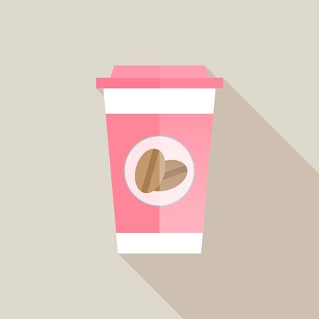 sweet pink coffee paper cup with long shadow, vector illustration