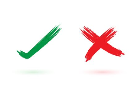 Yes and No, Tick and cross signs, Check mark vector icons