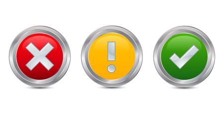 Ja, Nee en voorzichtig, Vink en kruis borden, Vinkje vector iconen Stock Illustratie