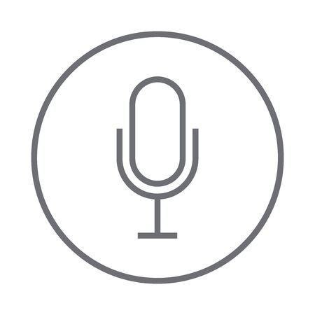 Grey microphone flat icon, vector illustration Çizim