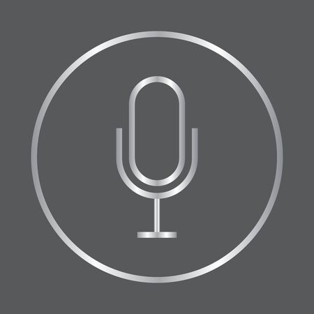 Silver microphone flat icon on grey background, vector illustration