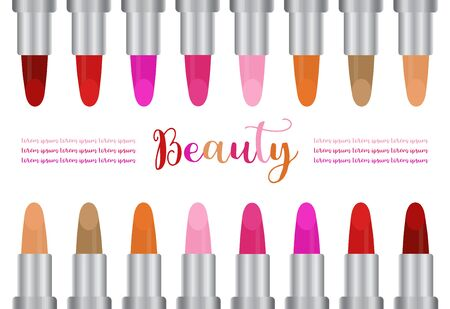 Set of color lipsticks isolated on white background, vector illustration