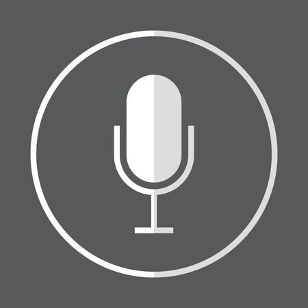 White and grey microphone flat icon, vector illustration