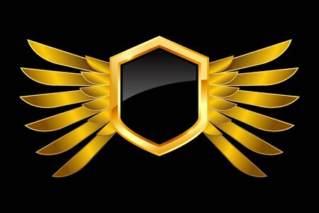 Golden black shield with wings on blank background, vector illustration