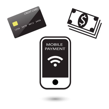 Mobile payment concept icons with shadow, vector illustration Çizim