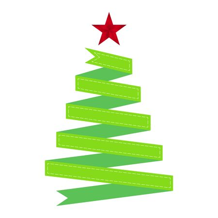 Green ribbon Christmas tree with red star on white background, vector illustration Çizim