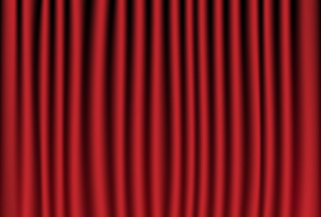 Vector illustration of red velvet curtain, theater background Çizim