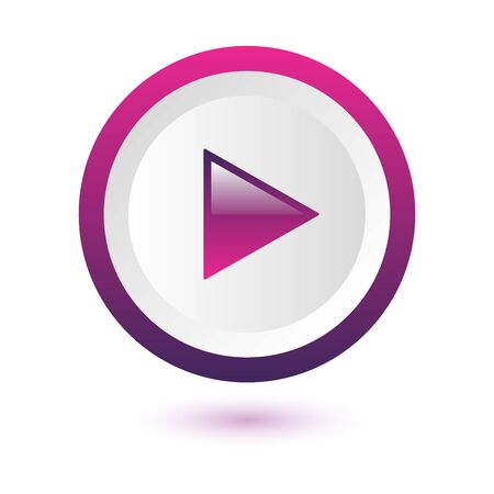 Shiny white pink and purple play button with shadow on white background, vector illustration