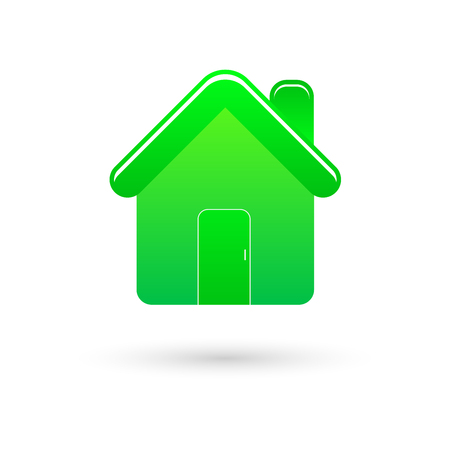 Green home vector icon with shadow on white
