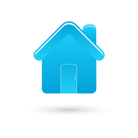 Blue home vector icon with shadow on white