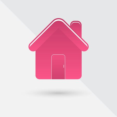 Pink house with shadow, vector illustration Çizim
