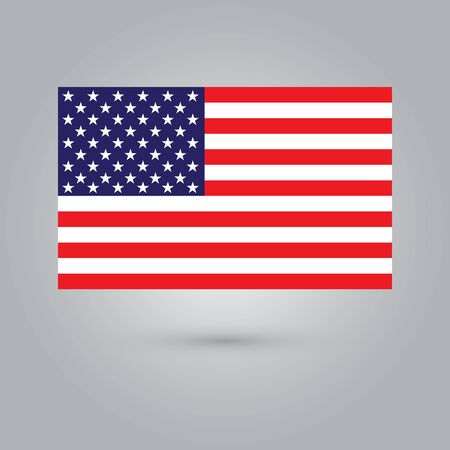 The national flag of USA metal with shadow, vector illustration