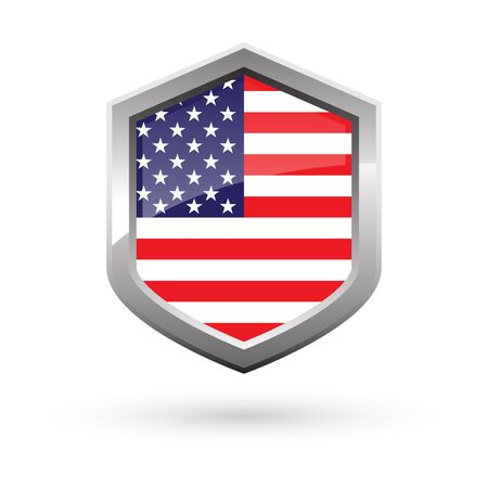 Shiny national flag of USA metal shield with shadow, vector illustration