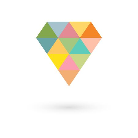 Polygon heart icon retro colors, vector illustration