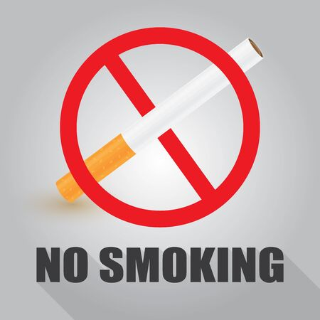 No smoking sign, cigarette icon on white and grey background, vector illustration Çizim