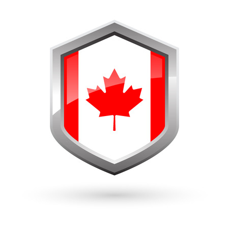 Shiny Canada flag silver shield with shadow on white background, vector illustration