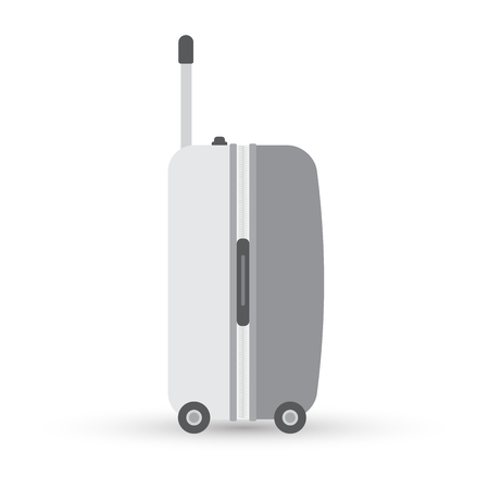 Grey travel bag or suitcase. Isolated on white. Vector illustration