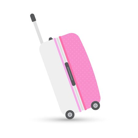 pink grey travel bag or suitcase. Isolated on white. Vector illustration