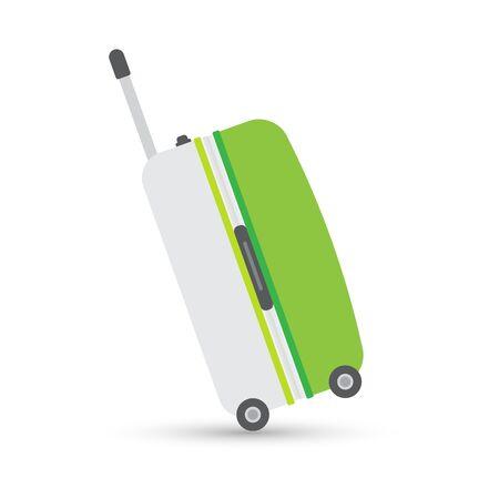 녹색 회색 여행 가방 또는 가방입니다. 흰색으로 격리. 벡터 일러스트 레이 션 일러스트