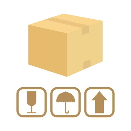 Carton cardboard box delivery concept, vector illustration