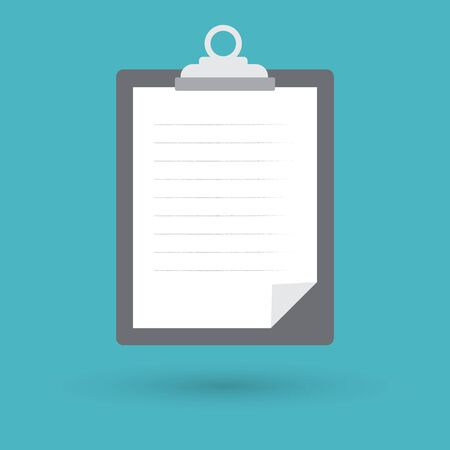 note pad: Clipboard with white paper on blue background, vector illustration. Illustration