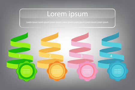Banner infographic design template ribbon and badges colourful, vector illustration.