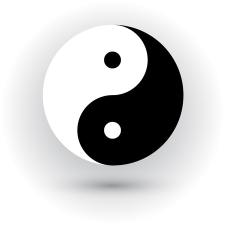 Ying yang symbol, vector illustration with shadow. Çizim