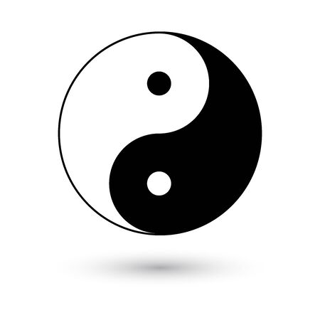 Ying yang symbol, vector illustration with shadow